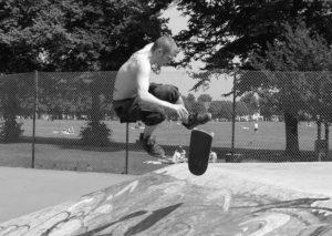 Skateboarding Gavin Strange
