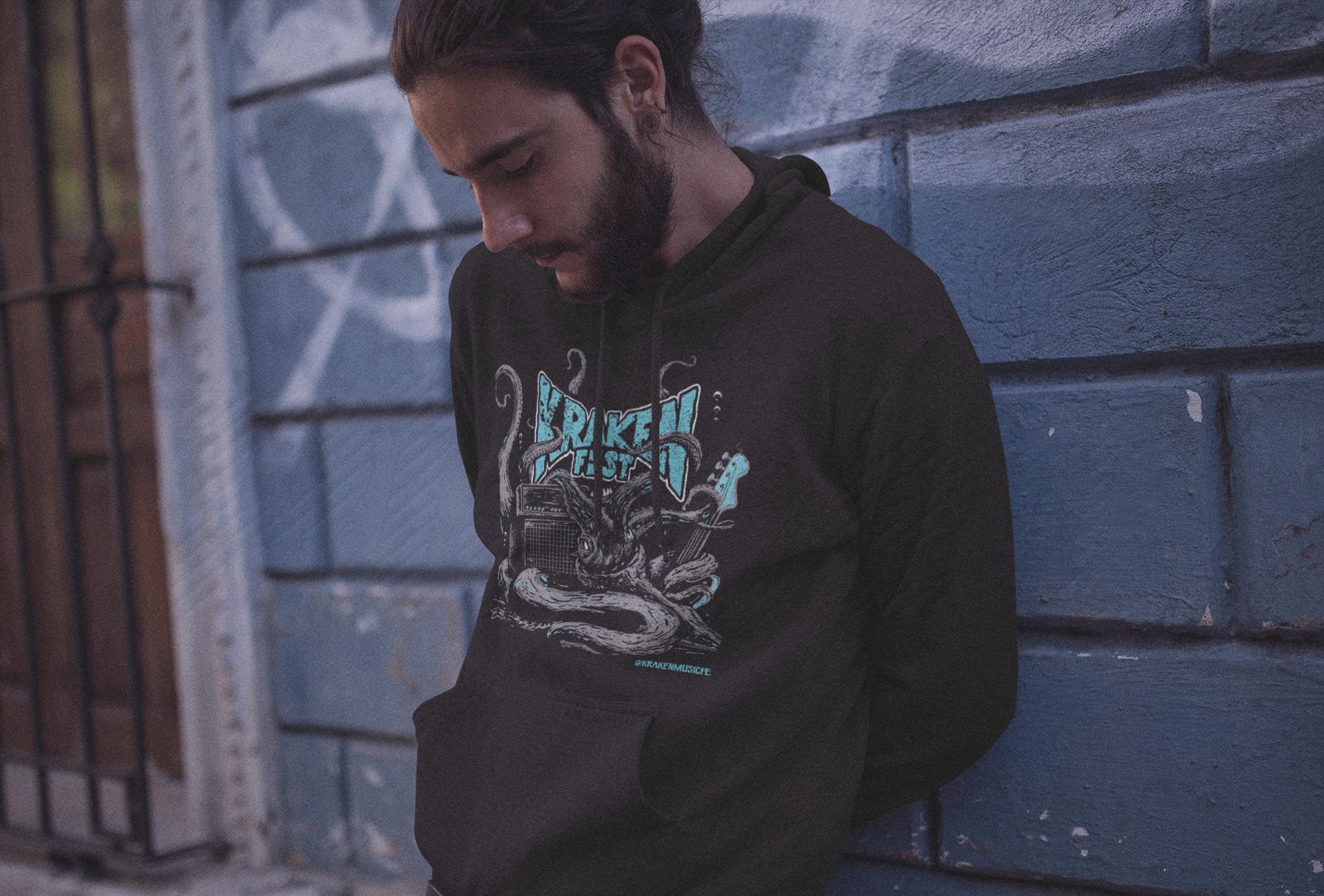 Guy wearing krakenfest hoodie