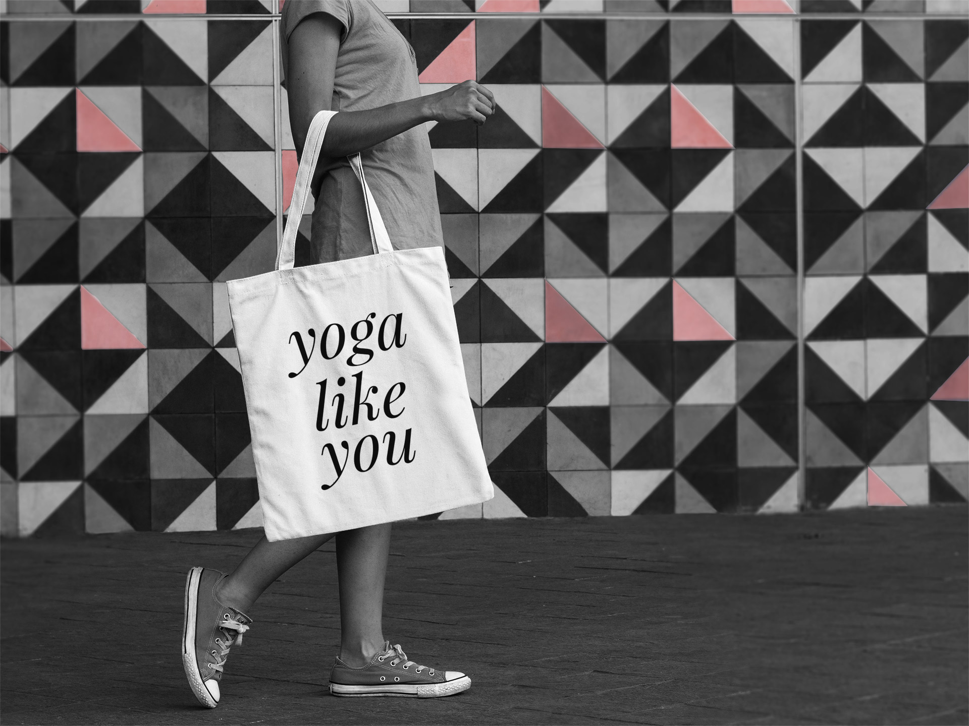 hi yoga tote bag scene