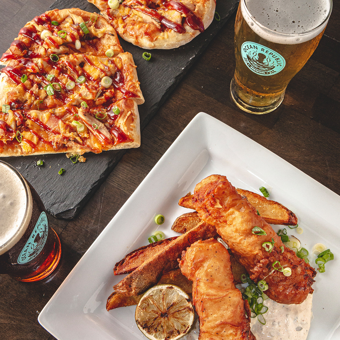 Fish and Chips with Flatbread and Beer