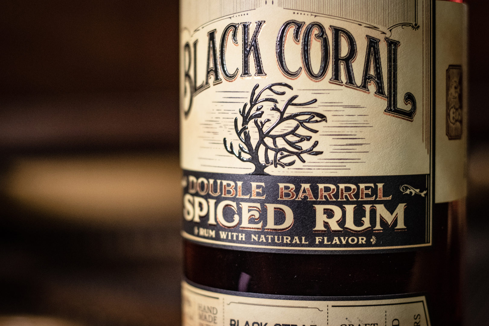 Double Barrel Spiced Rum Label Close Up